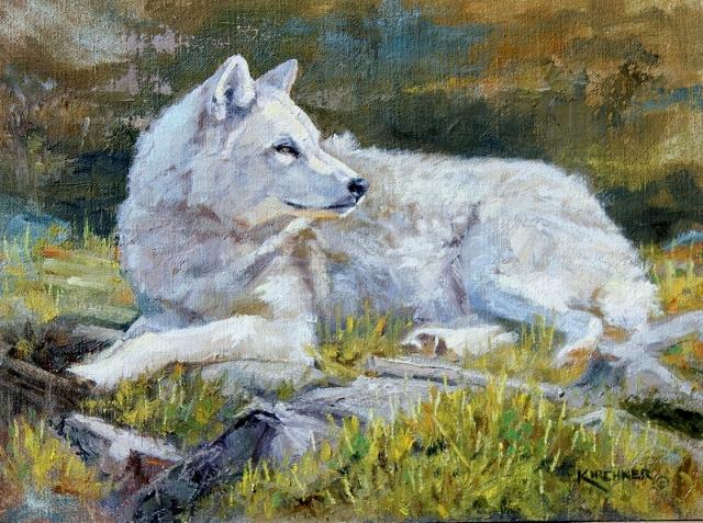 Wolf, Arctic Wolf, White Wolf, Wolves, Arctic Wolves, White Wolves, Fang, Leslie Kirchner Wolves, nature art, nature paintings, western art, western wildlife, western wildlife paintings, leslie kirchner art