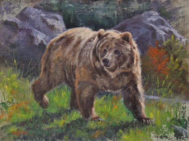 Grizzly, Grizzly Bear, Bear, Grizzly Painting, Bear Painting, Nature Art, Leslie Kirchner