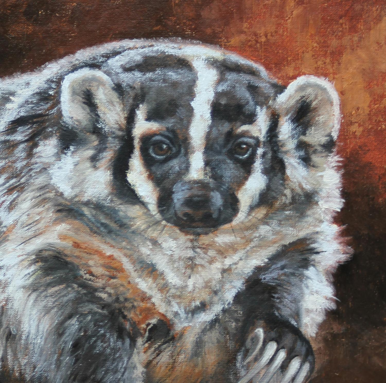 Badger, Badger Painting, Badger artwork, western wildlife, western paintings, western wildlife paintings, Leslie Kirchner, leslie kirchner art