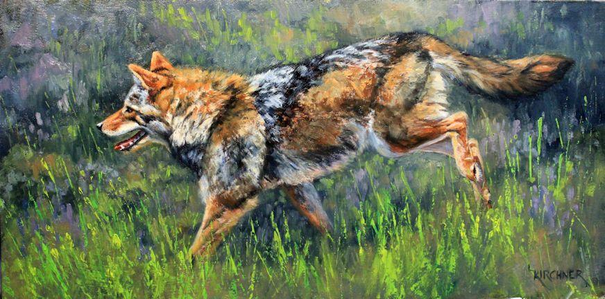 coyote, running coyote, coyote painting, coyote art, western art, western artwork, western wildllife art, western wildllife, nature art, nature artwork, nature paintings,coyote in field, leslie kirchner, lesliekirchner art, leslie kirchner artwork, leslie kirchner oil painting, nature art, wildlife art, wildlife paintings