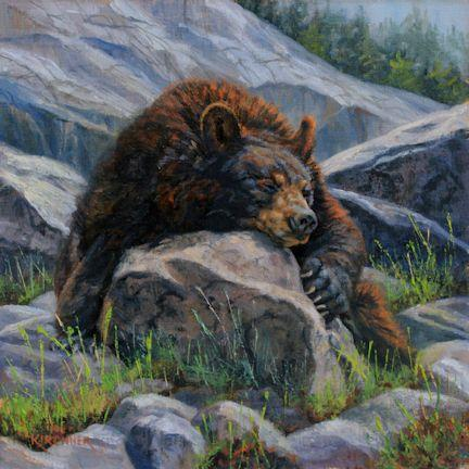 Black Bear, Black bear art, black bear painting, bear, bears, black bear on rock, nature art, nature artist, nature painting, oil painting, black bear painting, leslie kirchner. leslie kirchner art, wildlife art, wildlife painting, western art, western painting, bear painting, black bear oil painting