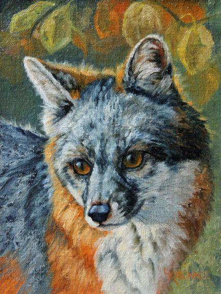 leslie kirchner, leslie kirchner art, leslie kirchner artist, wildlife art, wildlife artist, western art, western artist, grey fox art, gray fox art, grey fox painting, gray fox painitng, oil painting, fox, fox art, fox oil painting, nature art, nature artist, canid art, wild canid, gray fox art
