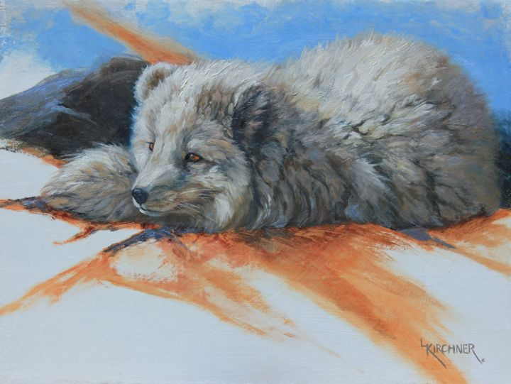 leslie kirchner, leslie kirchner art, arctic fox art, arctic fox painting, arctic, arctic wildlife, fox, fox art, fox painting, wetsern art, wildlife art, nature artist,oil painting,  nature art, arctic fox oil painting,
