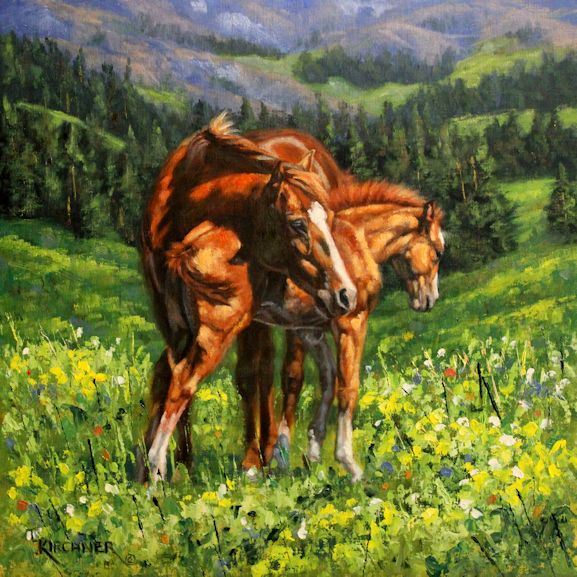 leslie kirchner, leslie kirchner art, leslie kirchner artist, wildlife art, wildlife artist, western art, western artist, horse art, nature art, nature artist, horse painting, mare and foal painting, mare and foal art, oil painting, sorrel horse, chestnut horse, mare and foal western art