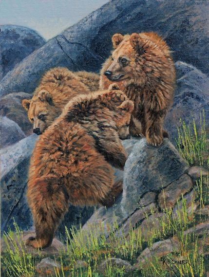 Leslie Kirchner, leslie kirchner art, leslie kirchner artist, western artist, wildlife artist, nature artist,nature art, western art, wildlife art, bear art, grizzly bear , grizzly bear cubs, bear cubs, bears, bear artart,