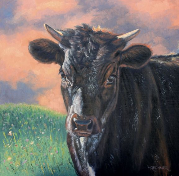 Leslie Kirchner, leslie kirchner artist, western artist, wildlife artist, nature artist, western art, western paintings, natre art, wildlife art, calf, cow, bull calf, black calf, calf art, calf painting