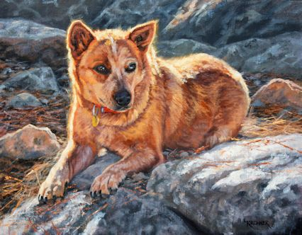 leslie kirchner, leslie kirchner art, western art, western artist, nature art, nature artist, wildlife art, wildlife art, dog art, dog painting, australian cattle dog, australian cattle dog art, queensland heeler, queensland heeler art, dog paintings, red heeler, red heeler art
