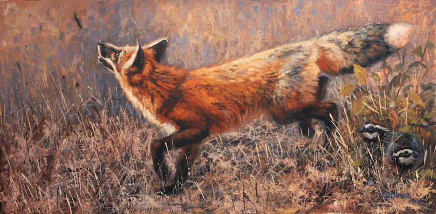 Leslie Kirchner, leslie kirchner artist, leslie kirchner art, wildlife art, wildlife artist, western art, western artist, nature art, nature artist, fox, fox art, canid, canid art, red fox, red fox art, red fox painting