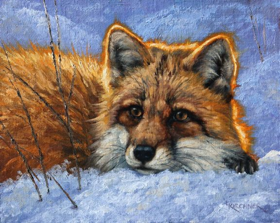 Leslie Kirchner, leslie kirchner artist, leslie kirchner art, wildlife art, wildlife artist, western art, western artist, nature art, nature artist, fox, fox art, vixen, vixen art, fox painting, red fox, red fox art, red fox painting, fox in snow, fox in snow art, red fox in snow painting