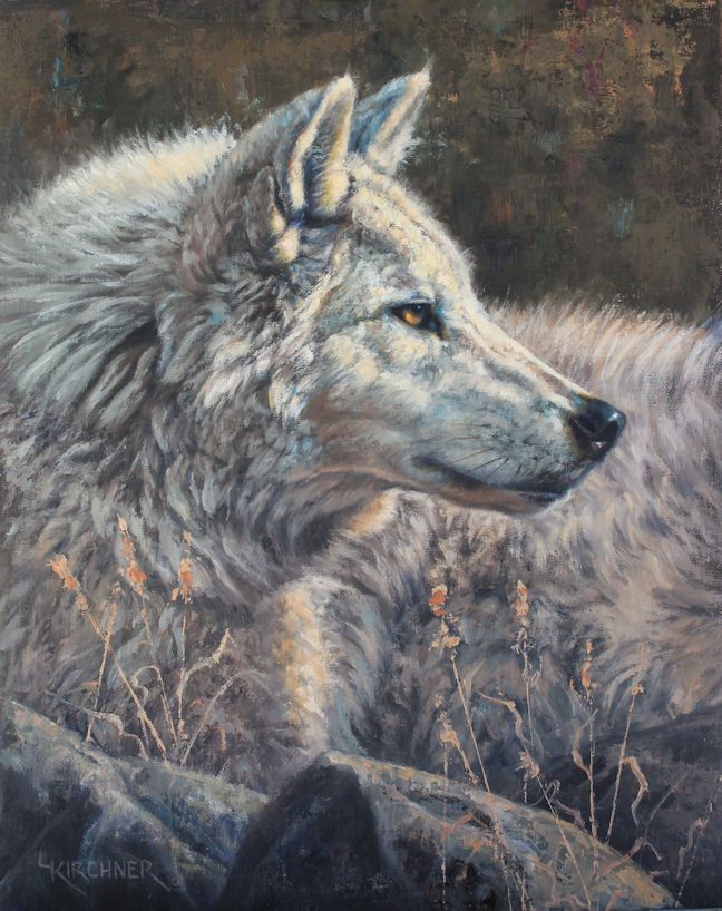 Leslie Kirchner, leslie kirchner art, leslie kirchner artist, western art, western artist, nature art, nature artist, wildlife art, wildlife artist, wolf art, wolf painting, wolf artwork, wild canid, wild canid art, white wolf, white wolf art, white wolf painting, gray wolf, gray wolf art, gray wolf painting, wolves, arctic wolf, wolf oil painting