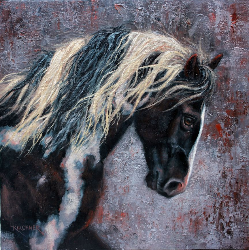Leslie Kirchner, leslie kirchner art, leslie kirchner artist, wildlife art, wildlife artist, western art, western artist, nature art, nature artist, horse art, paint horse art, paint horse painting, black and white paint horse, black and white paint horse art